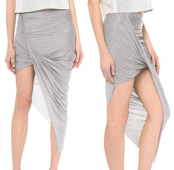 Helmut Lang Asymmetrical Wrap Skirt in Soft Grey Heather