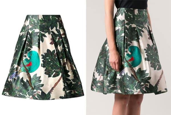 Oscar De La Renta Forest Print Skirt