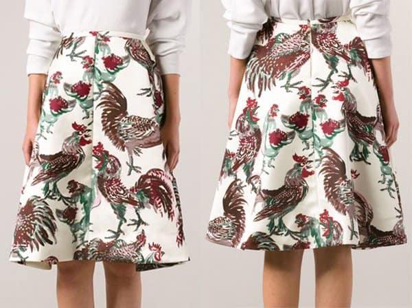 Rochas Rooster Print Full Skirt