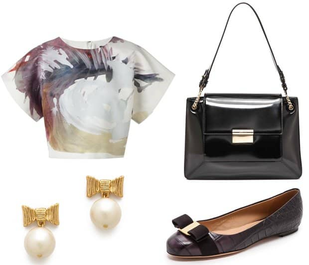 MSGM Painterly Print Top, Salvatore Ferragamo Varina Croc Embossed Flats, Jason Wu Christie Shoulder Bag, and Kate Spade New York All Wrapped Up Drop Earrings