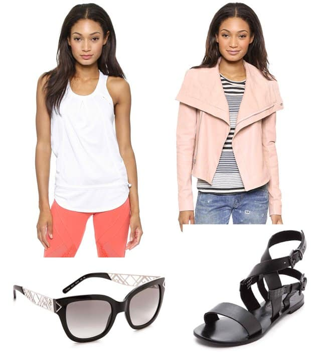 Adidas by Stella McCartney Chill Tank, VEDA Max Classic Leather Jacket, Sol Sana Avery Sandals, and Tory Burch Electric Chevron Sunglasses