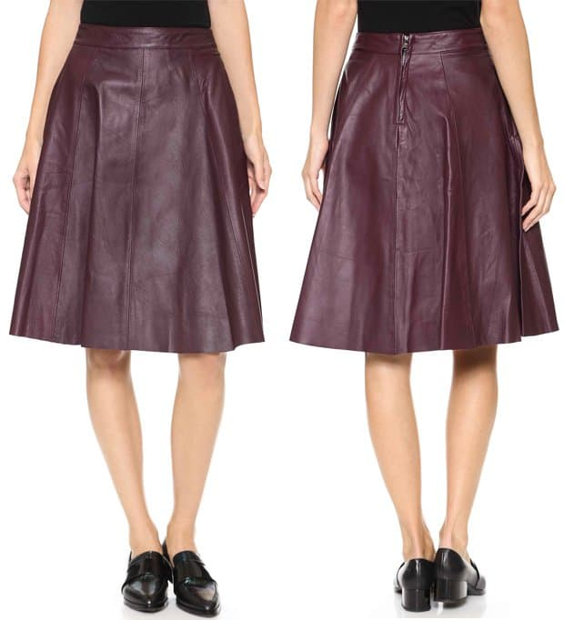 Otto dame Pelle Gonna Leather Skirt