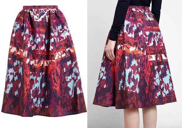 Peter Pilotto Printed Textured Stretch Silk Skirt