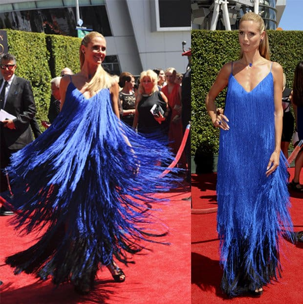 Heidi Klum couldn't resist twirling while attending the 2014 Creative Arts Emmy Awards
