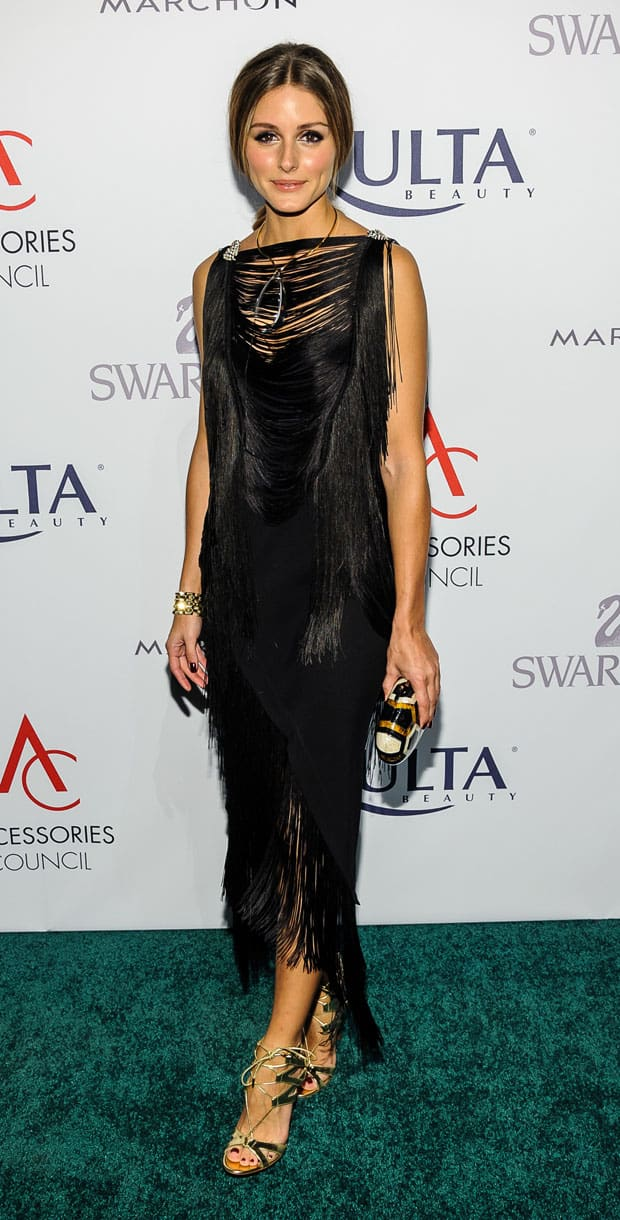 Olivia Palermo wearing a black Willow fringed panel top at the 17th Annual Accessories Council Excellence Awards