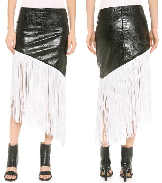 Rodarte Embossed Faux Leather Fringe Skirt