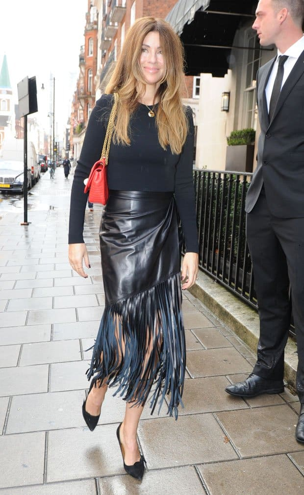 Sarah McDonald arrives at 34 Restaurant to celebrate the launch of a champagne coupe moulded from Kate Moss' left breast