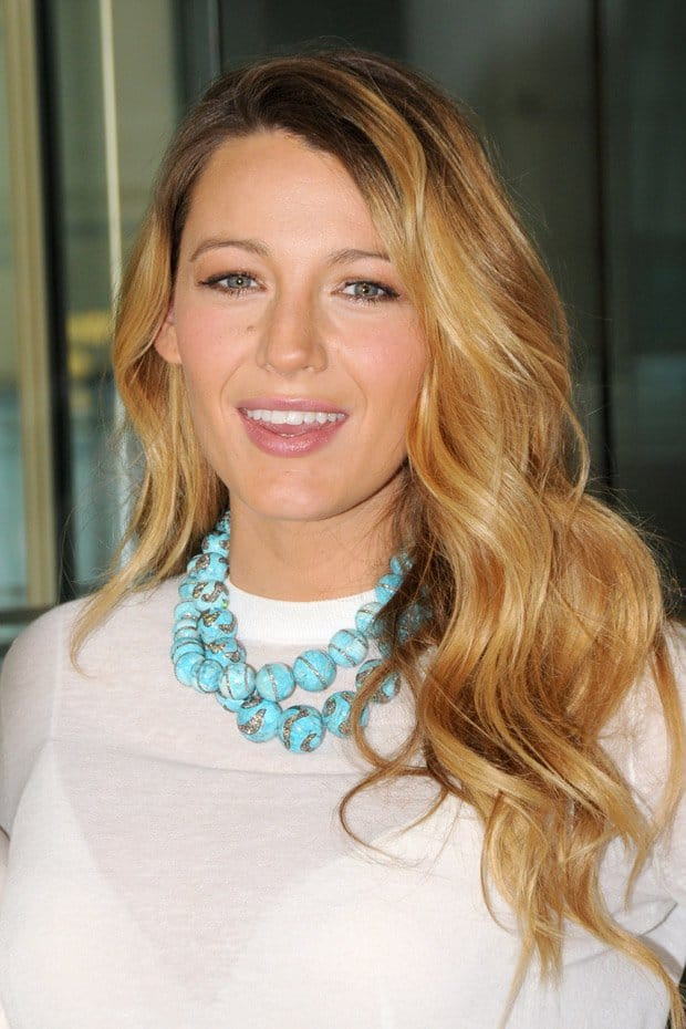 Blake Lively styled her white dress with an aqua beaded necklace