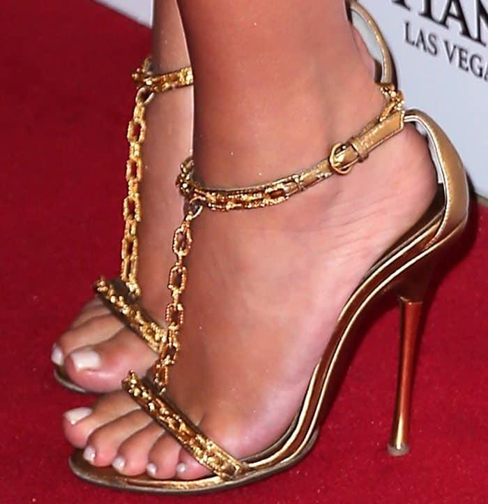Kim Kardashian wearing Tom Ford chain-link ankle strap sandals