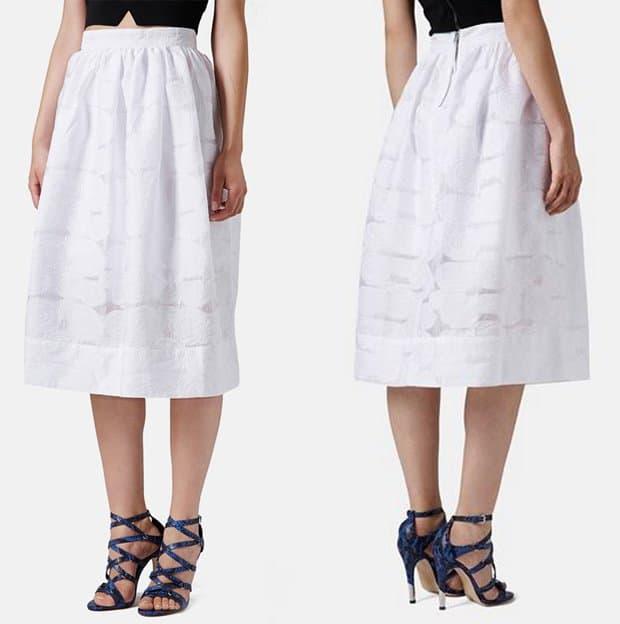 Topshop Rose Jacquard Midi Skirt