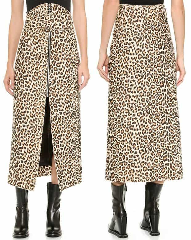 Carven Printed Wool Leopard Zip Skirt