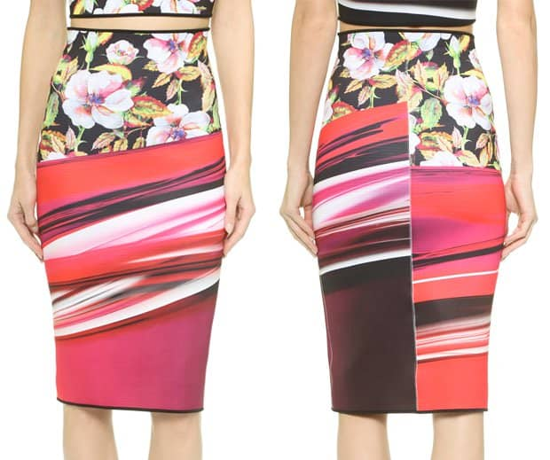 Clover Canyon Botanical Wave Reversible Pencil Skirt