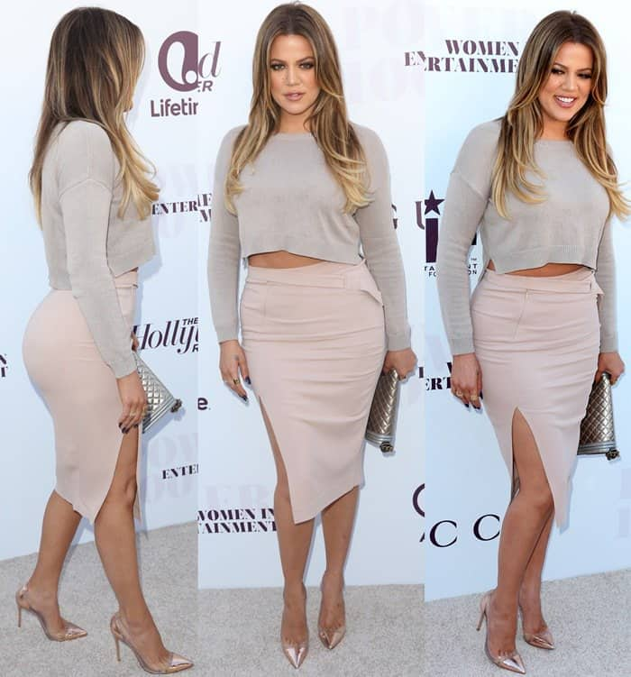 "Khloe Kardashian wore a side-slit fitted midi skirt by A.L.C., a Forever 21 crop sweater, and a pair of rose gold Gianvito Rossi ""Calabria"" pumps"