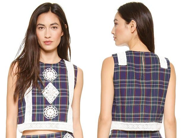 endless rose Plaid and Lace Crop Top