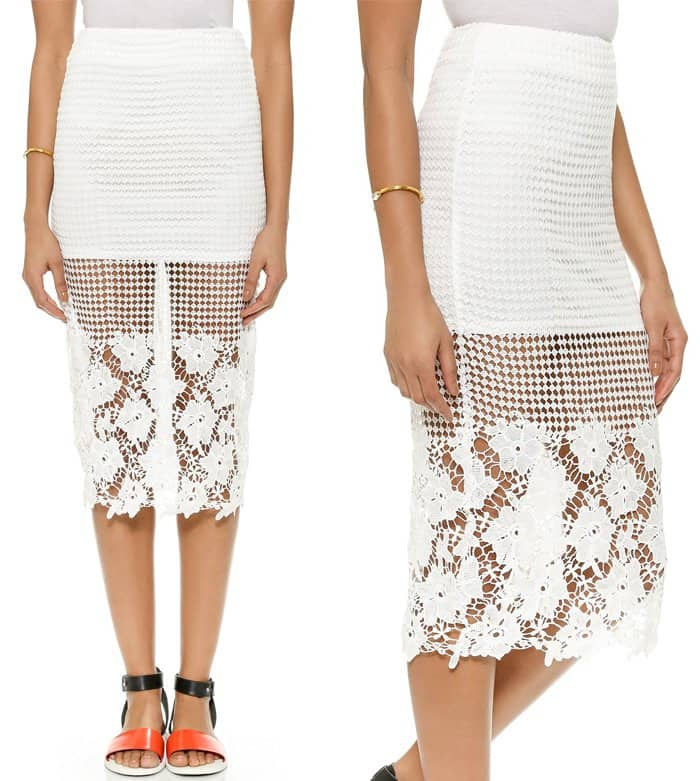 JOA Floral Lace Skirt