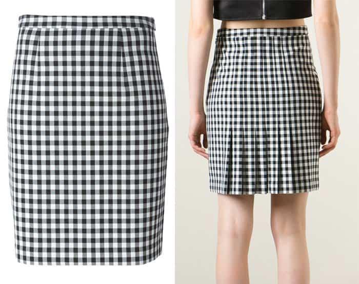 Diane von Furstenberg Pleated Back Check Skirt