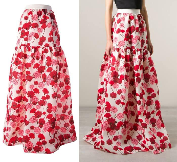 Giambattista Valli Carnations Print Voluminous Skirt