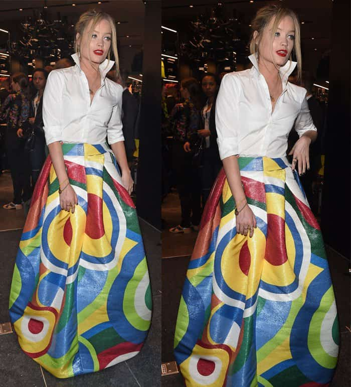 Laura Whitmore attends the DSQUARED2 London flagship store opening in London on April 21, 2015