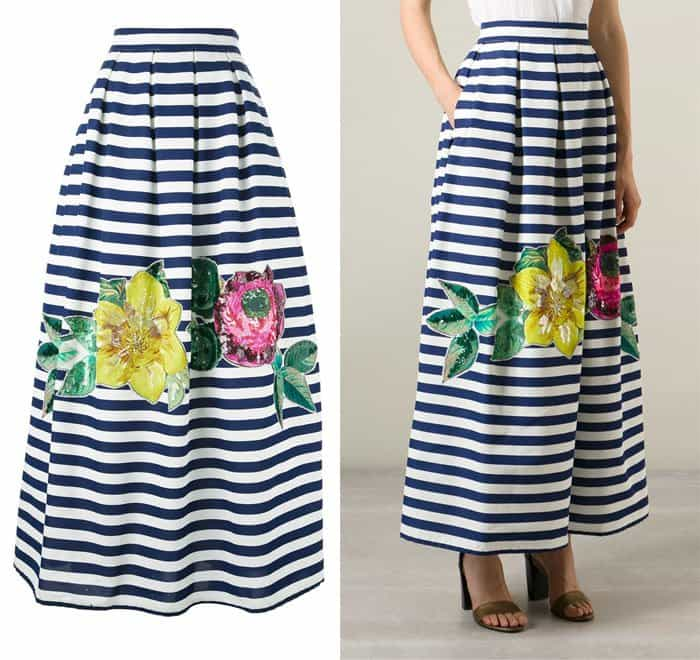 PAROSH Maxi Embellished Striped Skirt