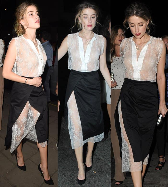 Amber Heard wearing a black wrap skirt layered over her sheer Chantilly-lace dress
