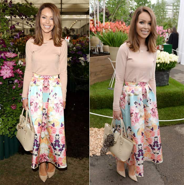 Katie Piper looked feminine at the Chelsea Flower Show 2015 in London on May 18, 2015
