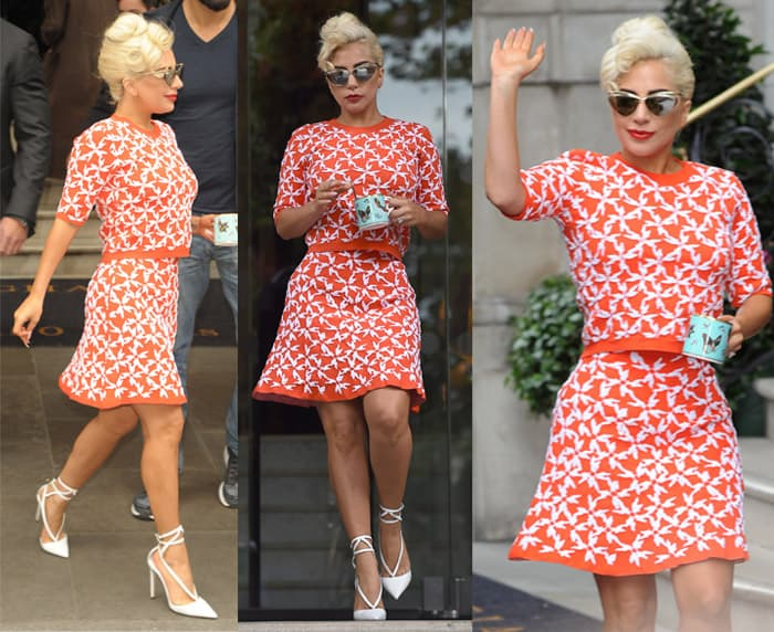 Lady Gaga leaving her hotel in a red patterned dress, holding a cup of tea in London on June 9, 2015
