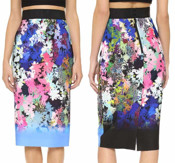 Milly Ombre Floral Print Midi Skirt