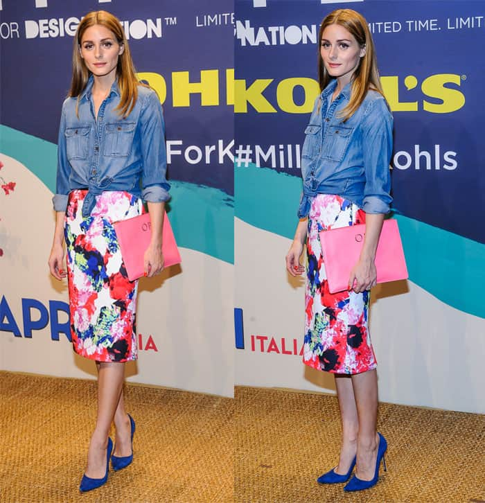 Olivia Palermo at the Milly for DesigNation collection launch at Isola Trattoria & Crudo Bar in New York on April 22, 2015