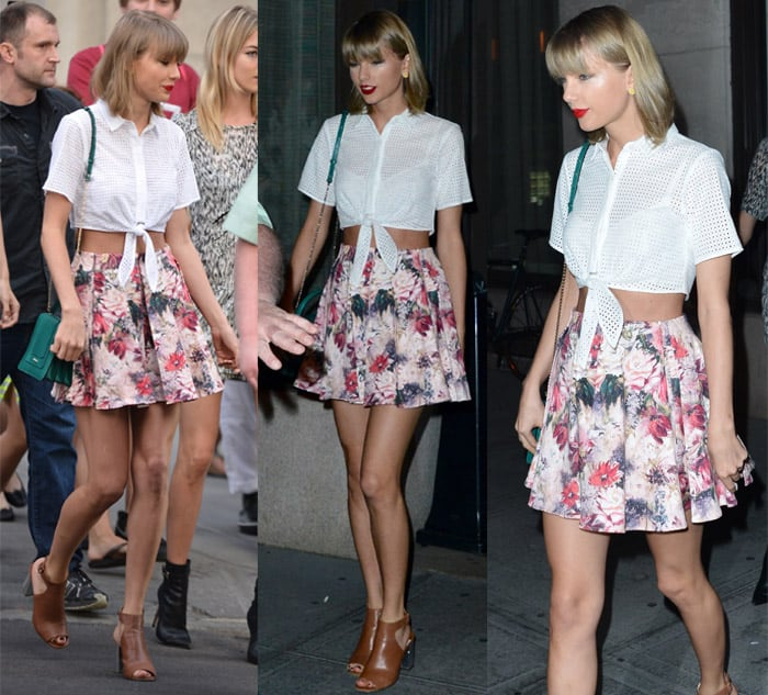 Taylor Swift wears a sexy short floral skirt in New York on May 29, 2015