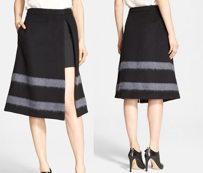 Tibi Stripe Felted Wool Blend Aline Skirt