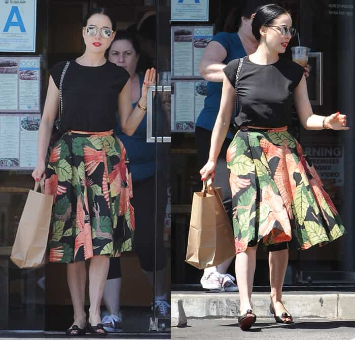 Dita Von Teese stepped out in a lovely printed midi skirt