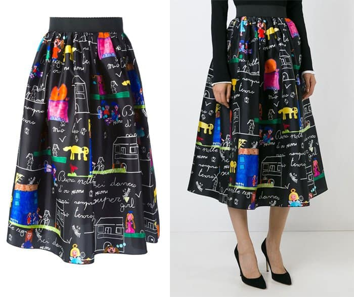 Dolce & Gabbana Drawings Print Voluminous Skirt