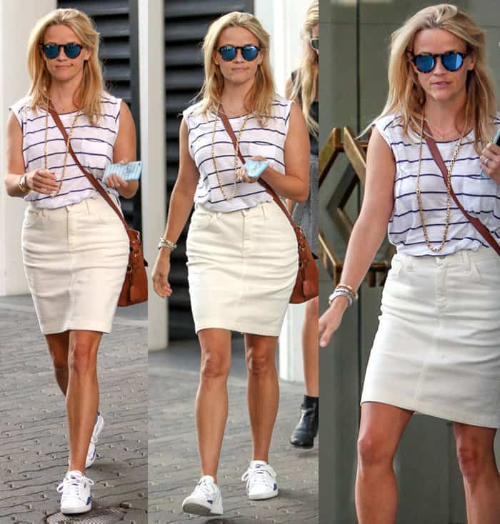 Reese Witherspoon made a white pencil skirt look summery by teaming it up with a sleeveless striped shirt