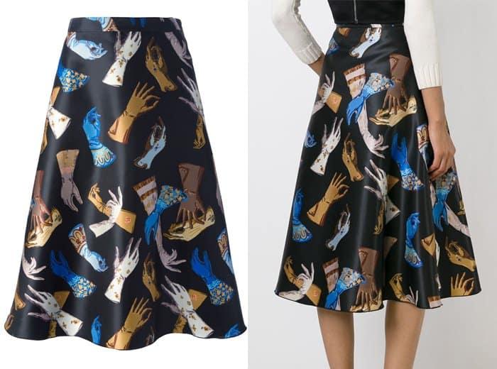 Rochas Glove Print Midi Skirt