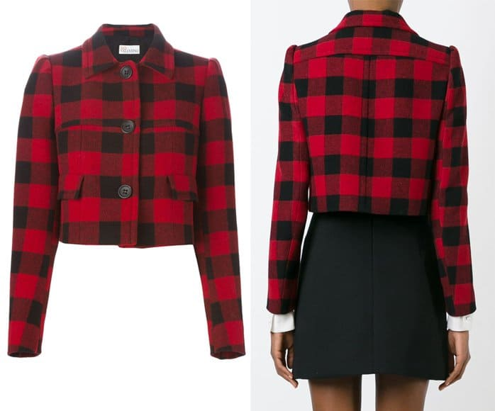 Red Valentino Cropped Check Jacket