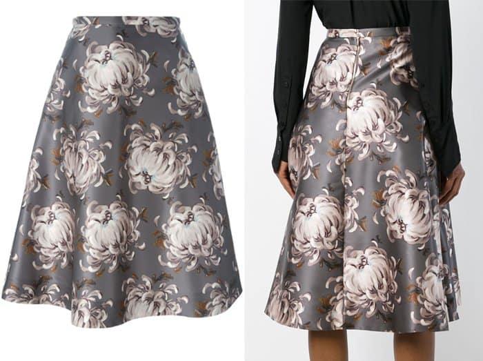 Rochas Floral Print Flared Skirt