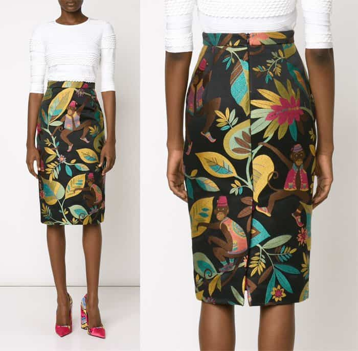 Christian Siriano Monkey Embroidered Pencil Skirt
