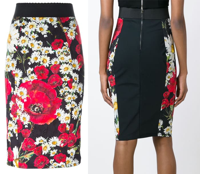 Dolce & Gabbana Daisy and Poppy Print Skirt
