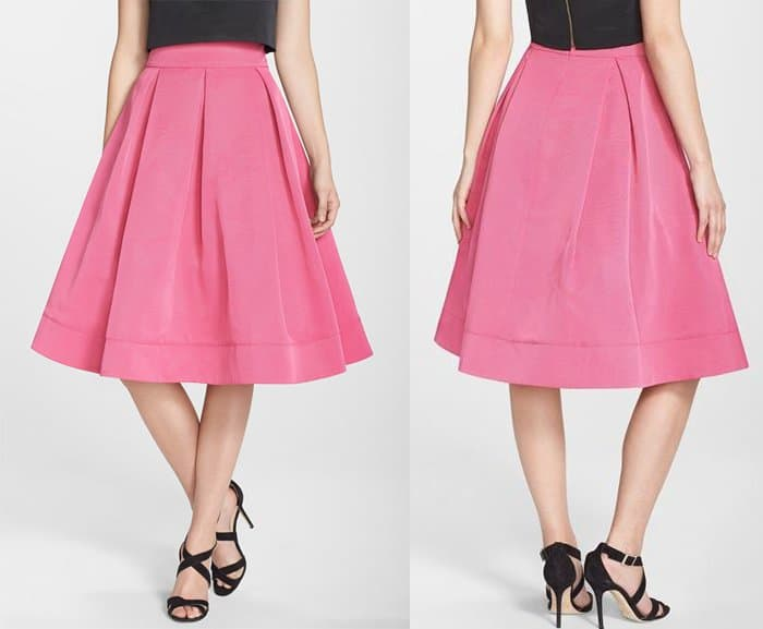 Eliza J Pleated Faille Midi Skirt