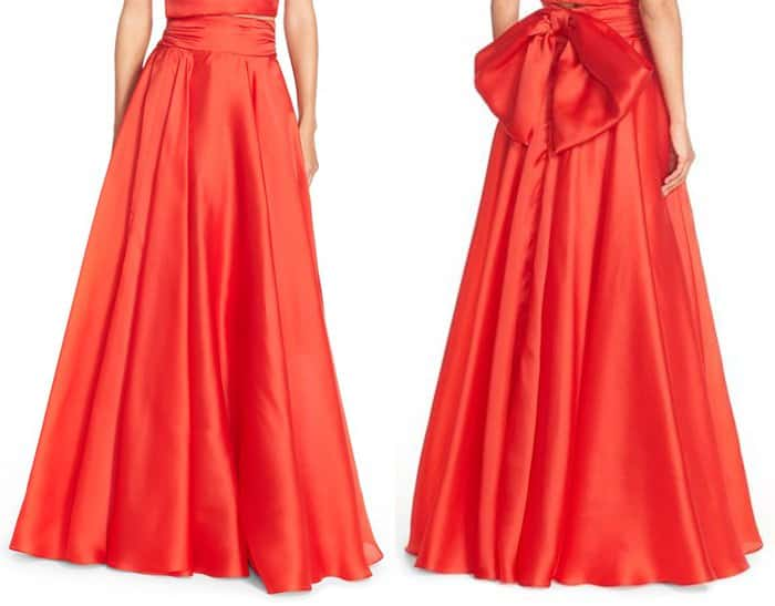 Milly Silk Satin Bow Back Ball Skirt