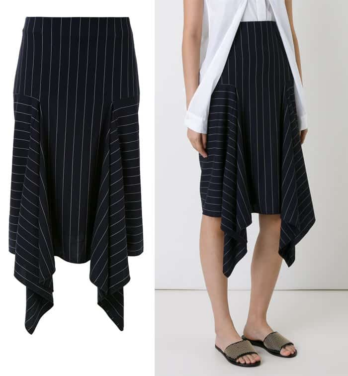 Dion Lee Draped Detail Pinstriped Skirt