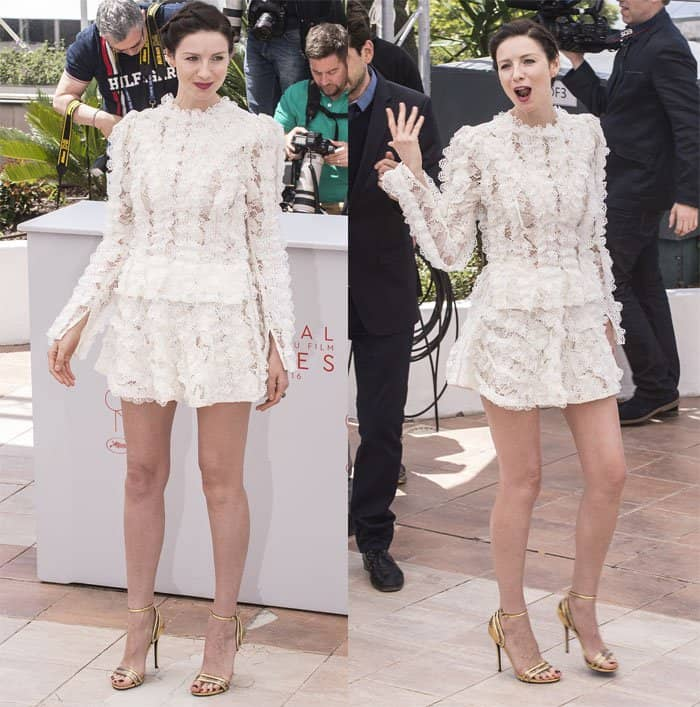 Caitriona Balfe frothy mini dress Cannes Film Festival1
