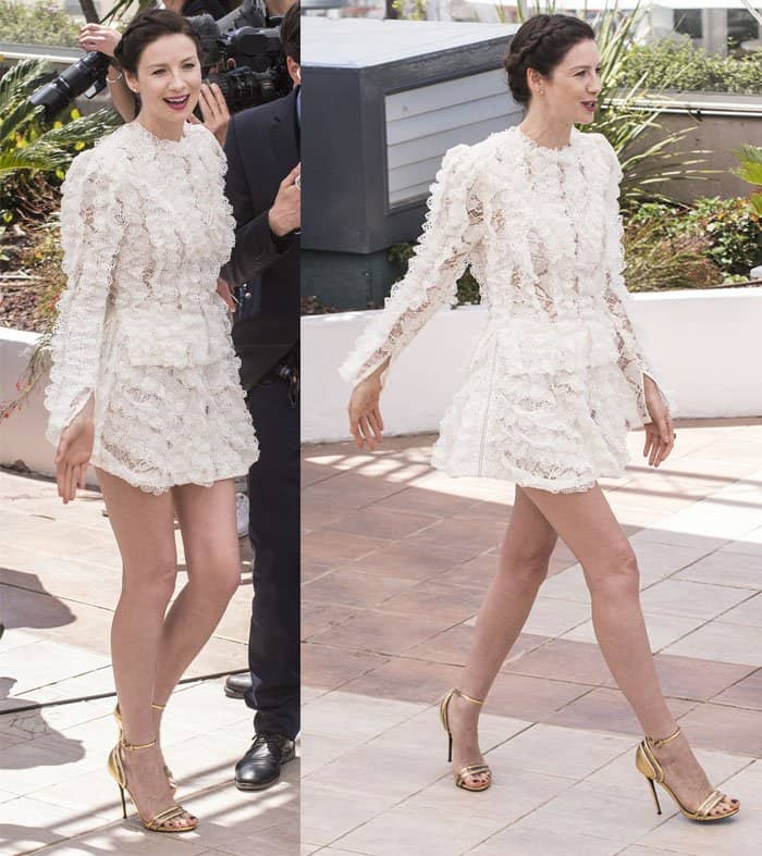 Caitriona Balfe frothy mini dress Cannes Film Festival2