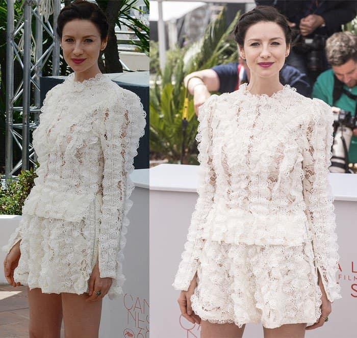 Caitriona Balfe frothy mini dress Cannes Film Festival3