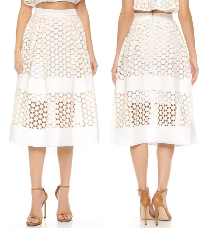 Nicholas Geo Lace Paneled Ball Skirt