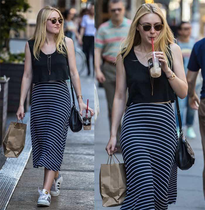 Dakota Fanning Striped Skirt2