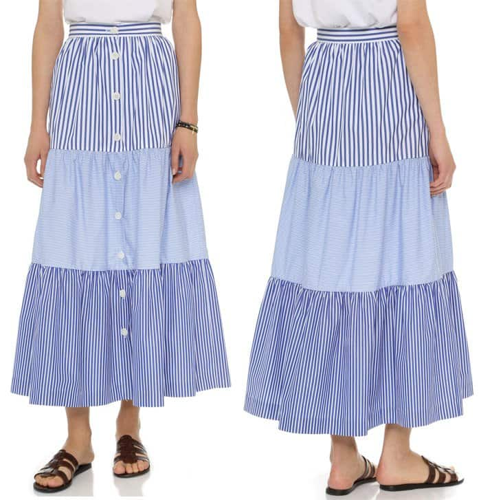 MDS Stripes Mixed Stripe Peasant Skirt