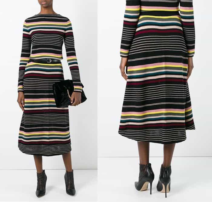 antonio-marras-striped-a-line-skirt