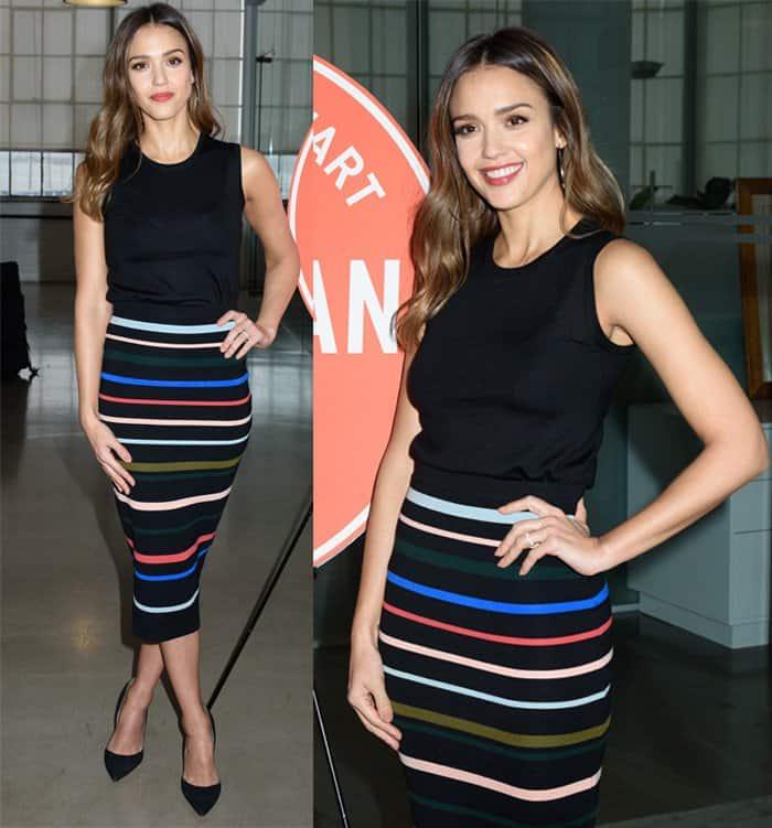 jessica-alba-lela-rose-striped-skirt2